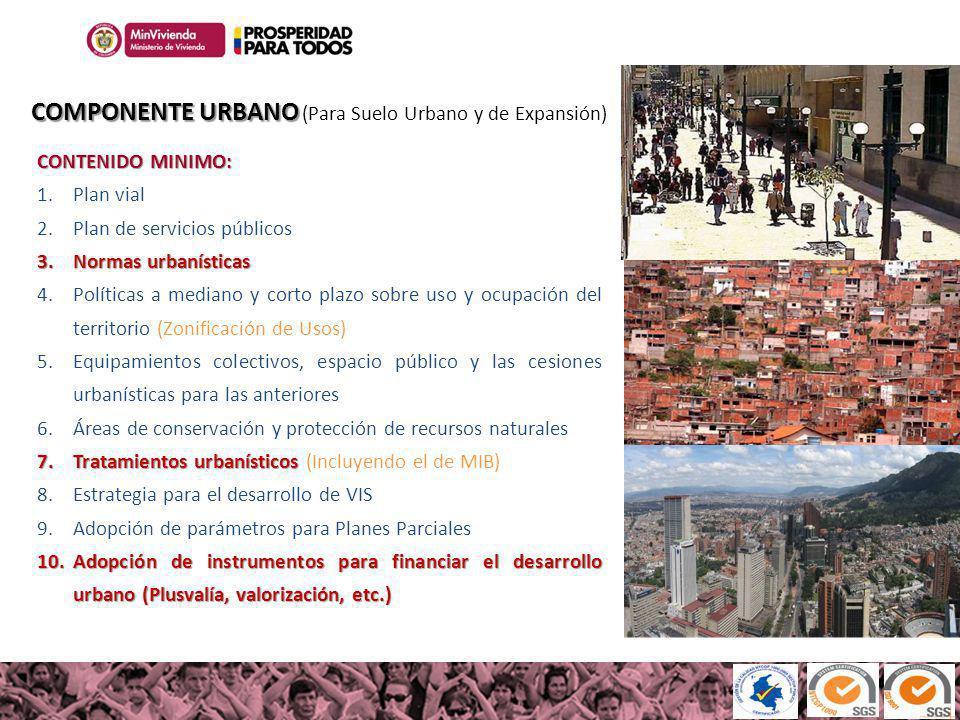 COMPONENTE URBANO (Para Suelo Urbano y de Expansión)