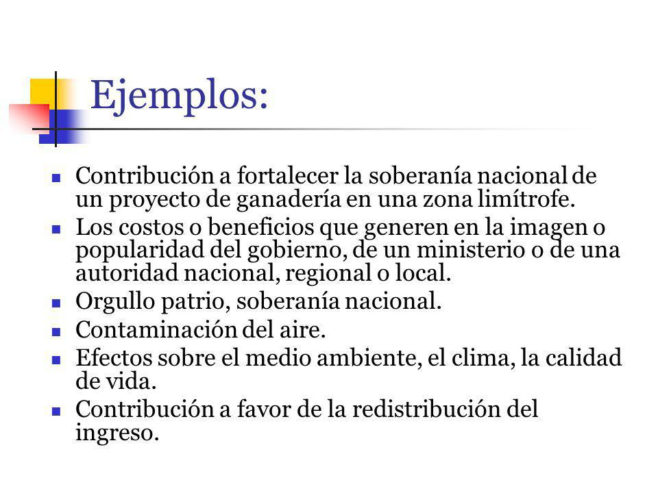 Ejemplos: Contribución a fortalecer la soberanía nacional de un proyecto de ganadería en una zona limítrofe.