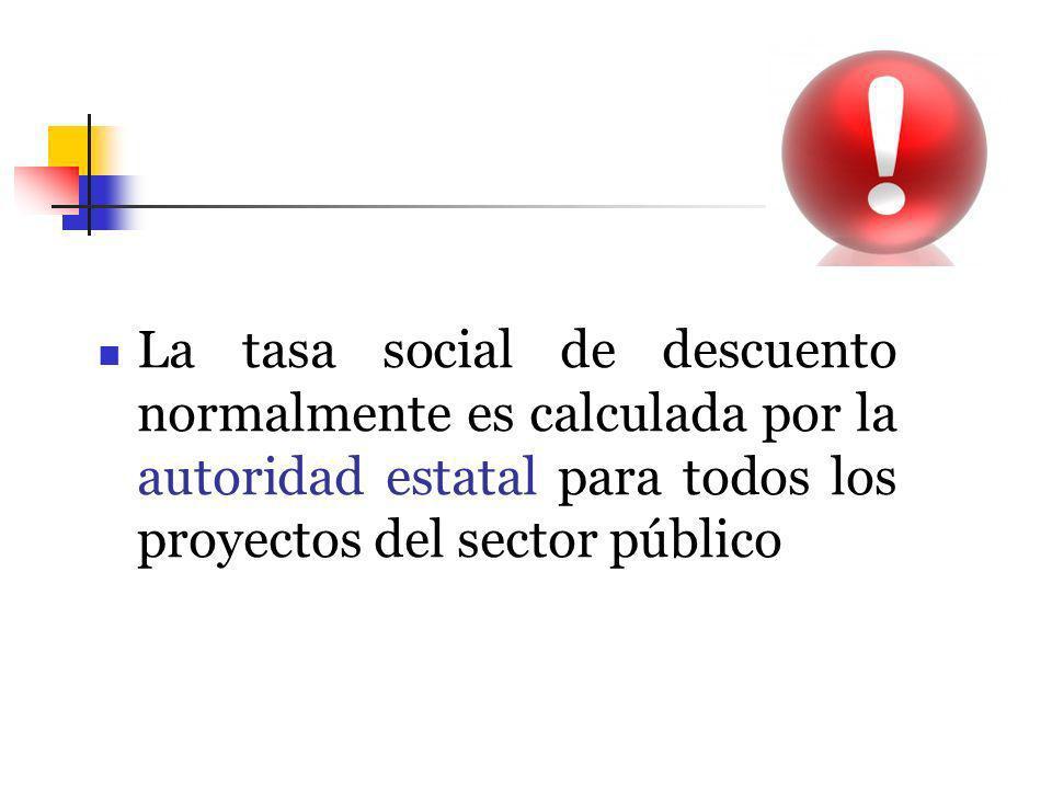 La tasa social de descuento normalmente es calculada por la autoridad estatal para todos los proyectos del sector público