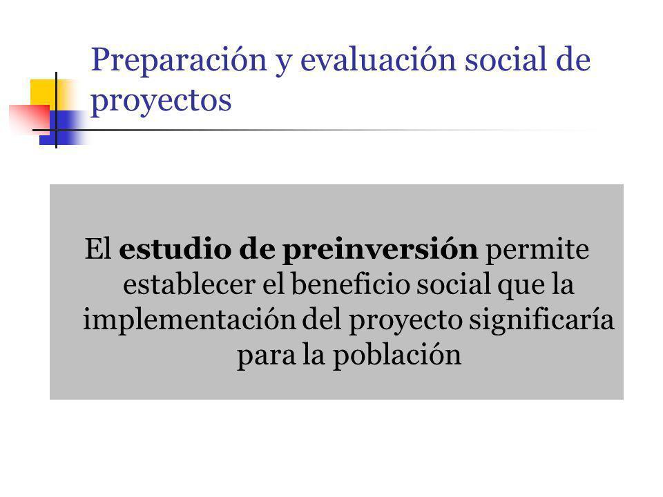 Preparación y evaluación social de proyectos