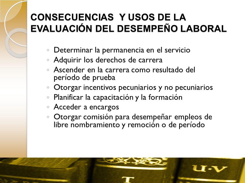CONSECUENCIAS Y USOS DE LA EVALUACIÓN DEL DESEMPEÑO LABORAL