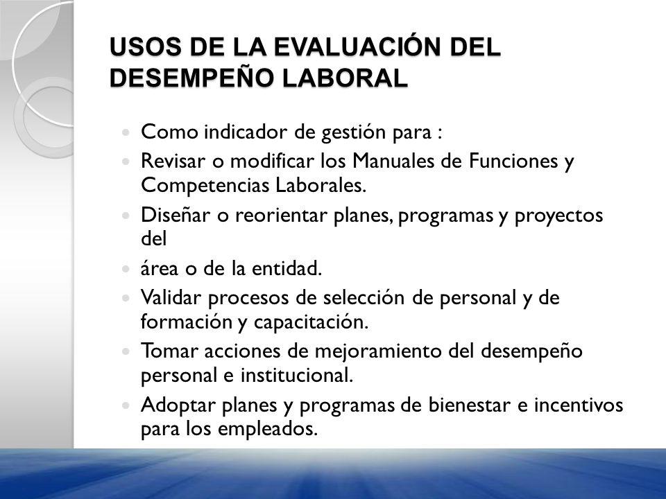 USOS DE LA EVALUACIÓN DEL DESEMPEÑO LABORAL