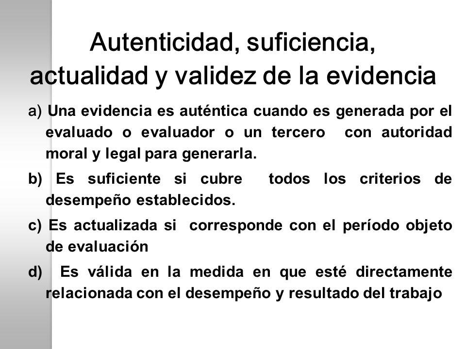 Autenticidad, suficiencia, actualidad y validez de la evidencia