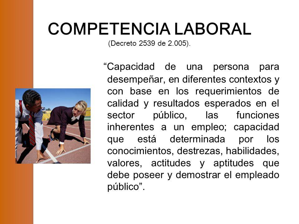 COMPETENCIA LABORAL (Decreto 2539 de 2.005).