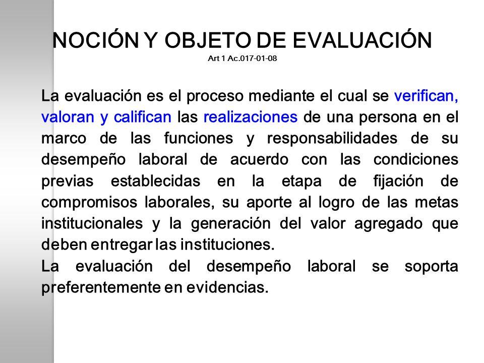 NOCIÓN Y OBJETO DE EVALUACIÓN Art 1 Ac.017-01-08