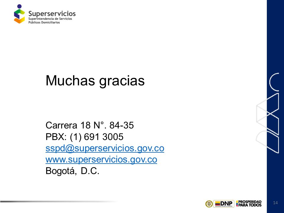 Muchas gracias Carrera 18 N°. 84-35 PBX: (1) 691 3005