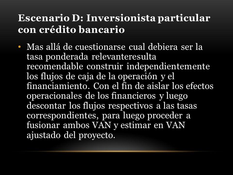 Escenario D: Inversionista particular con crédito bancario