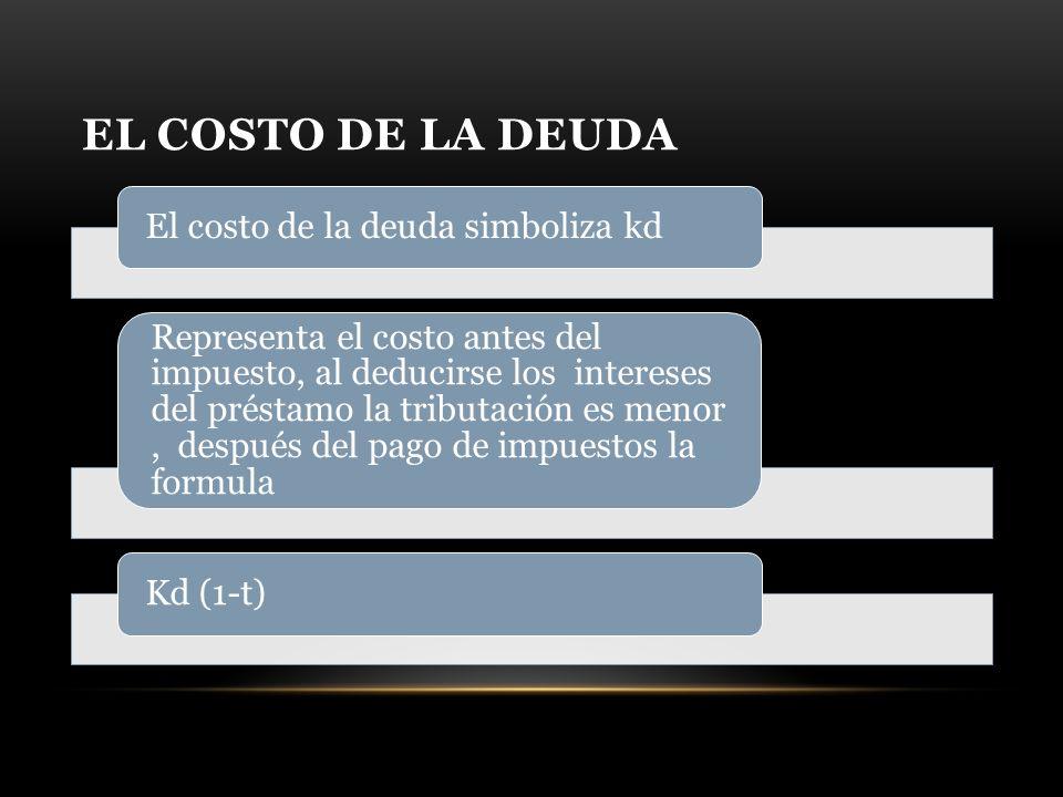 El costo de la deuda El costo de la deuda simboliza kd.