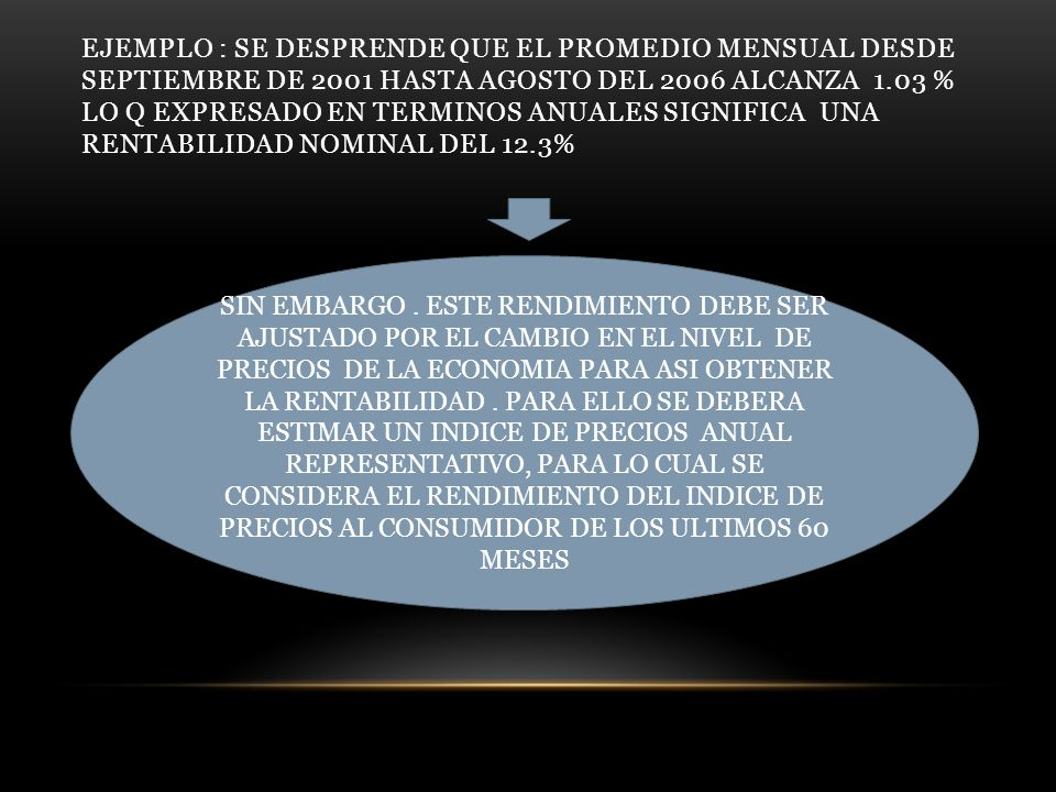 EJEMPLO : SE DESPRENDE QUE EL PROMEDIO MENSUAL DESDE SEPTIEMBRE DE 2001 HASTA AGOSTO DEL 2006 ALCANZA 1.03 % LO Q EXPRESADO EN TERMINOS ANUALES SIGNIFICA UNA RENTABILIDAD NOMINAL DEL 12.3%