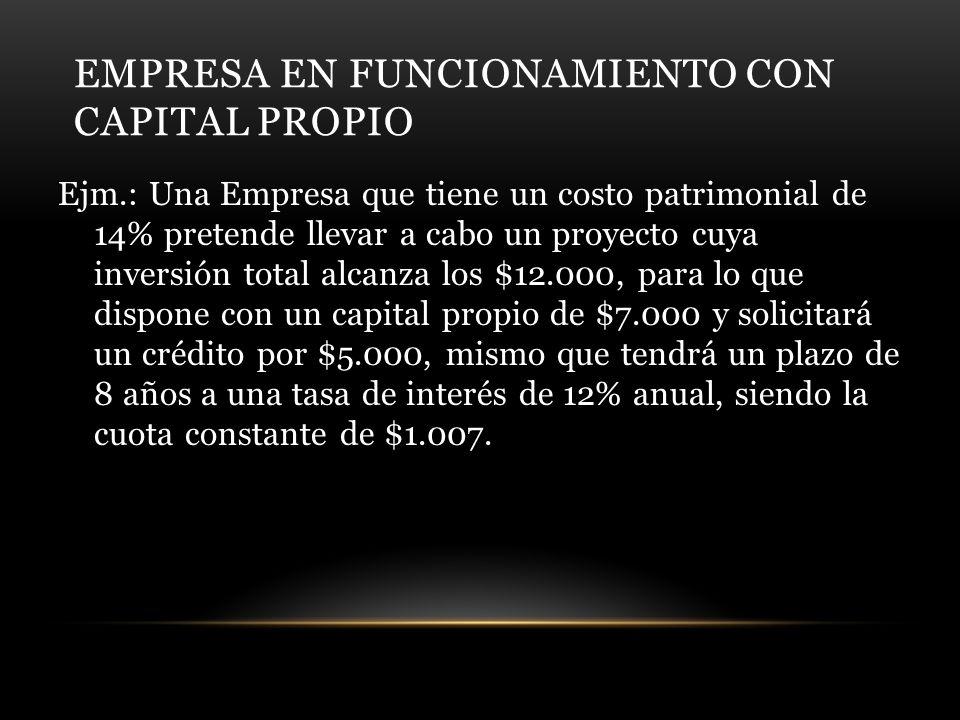 EMPRESA EN FUNCIONAMIENTO CON CAPITAL PROPIO