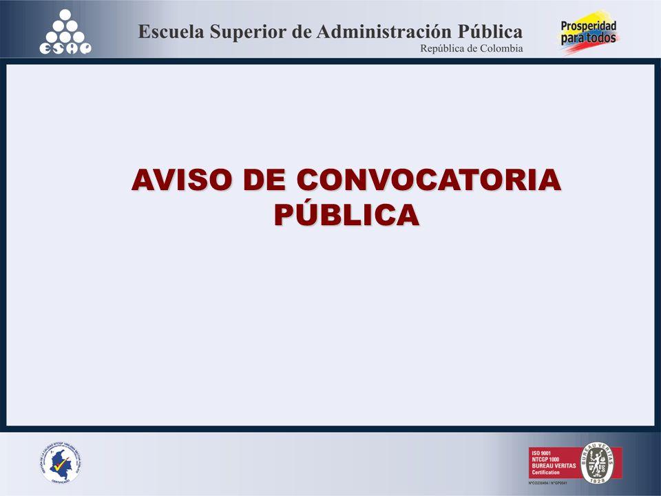 AVISO DE CONVOCATORIA PÚBLICA