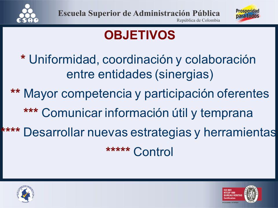 * Uniformidad, coordinación y colaboración entre entidades (sinergias)