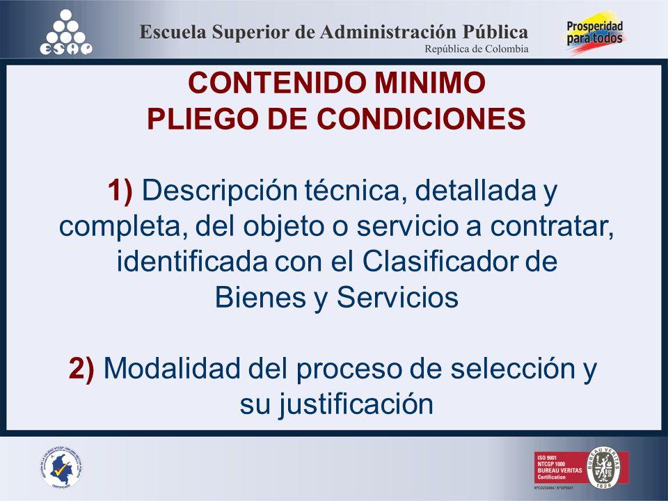 CONTENIDO MINIMO PLIEGO DE CONDICIONES