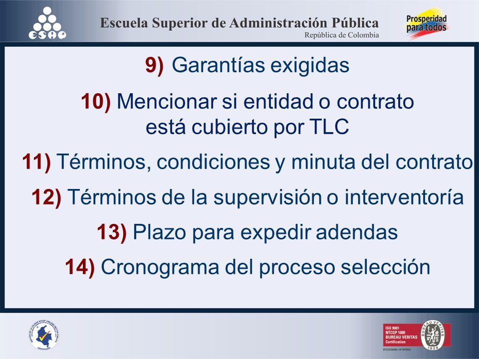 10) Mencionar si entidad o contrato está cubierto por TLC