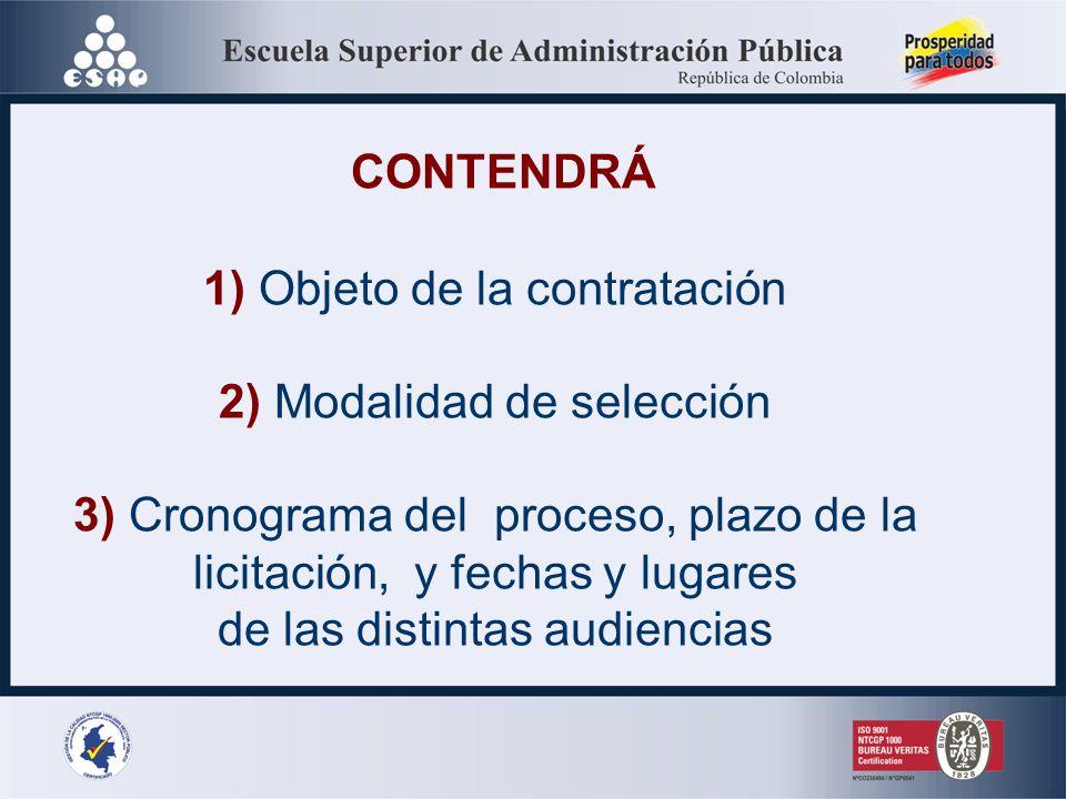 CONTENDRÁ 1) Objeto de la contratación 2) Modalidad de selección