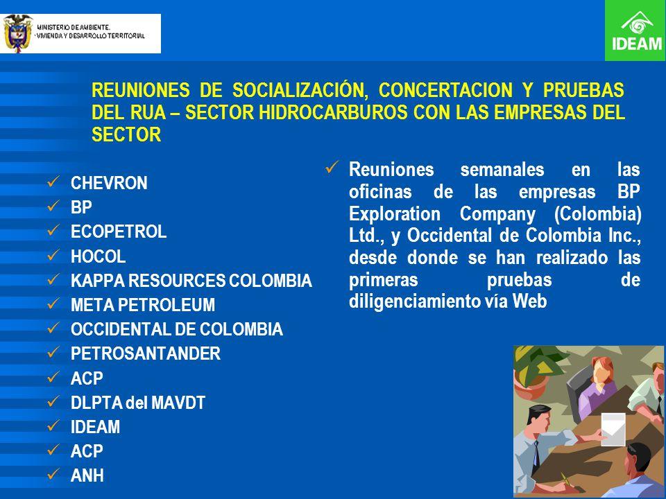 REUNIONES DE SOCIALIZACIÓN, CONCERTACION Y PRUEBAS DEL RUA – SECTOR HIDROCARBUROS CON LAS EMPRESAS DEL SECTOR