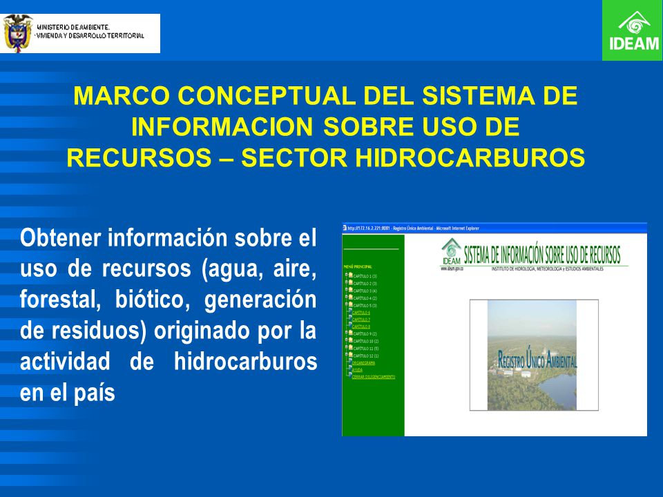 MARCO CONCEPTUAL DEL SISTEMA DE INFORMACION SOBRE USO DE RECURSOS – SECTOR HIDROCARBUROS