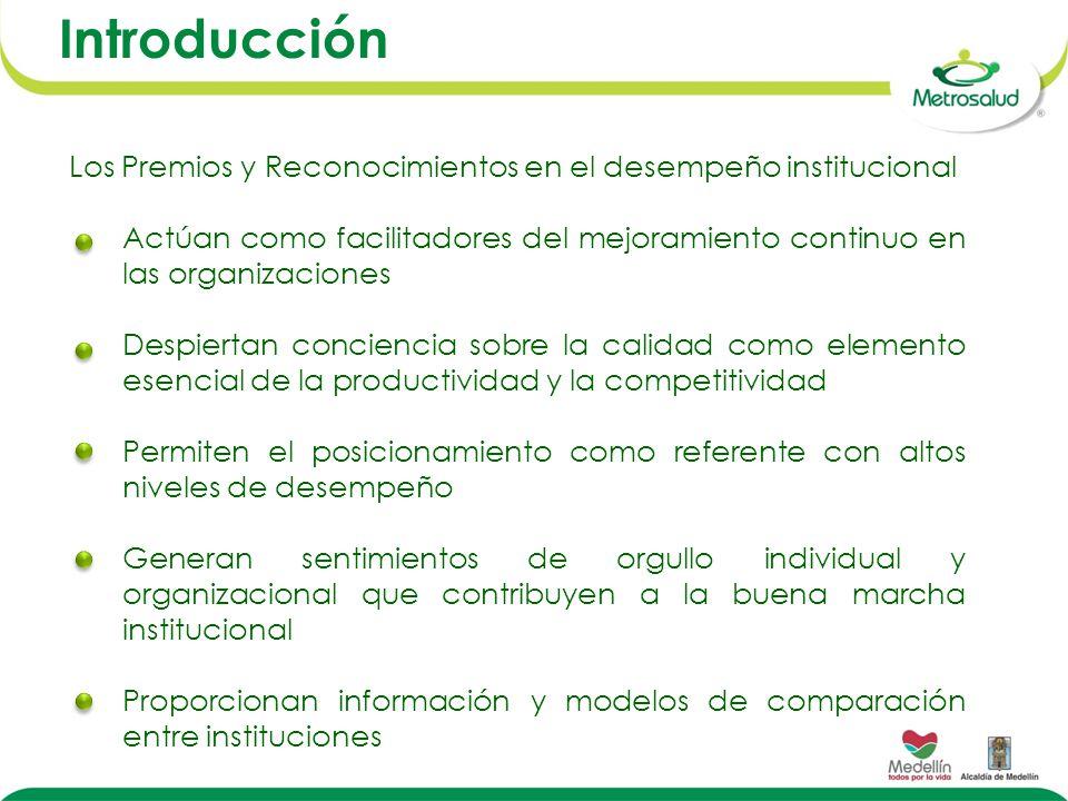 Introducción Los Premios y Reconocimientos en el desempeño institucional. Actúan como facilitadores del mejoramiento continuo en las organizaciones.
