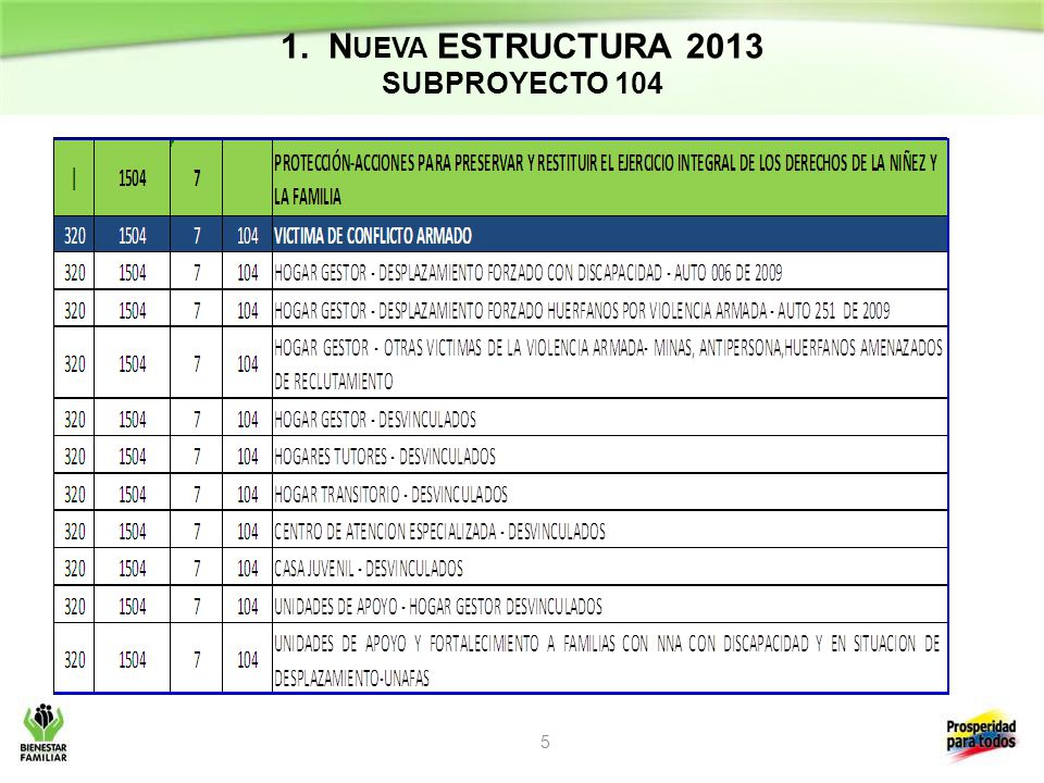 1. Nueva ESTRUCTURA 2013 SUBPROYECTO 104