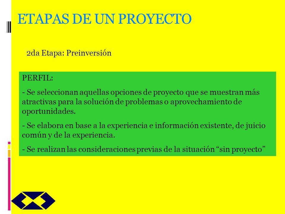 ETAPAS DE UN PROYECTO 2da Etapa: Preinversión PERFIL: