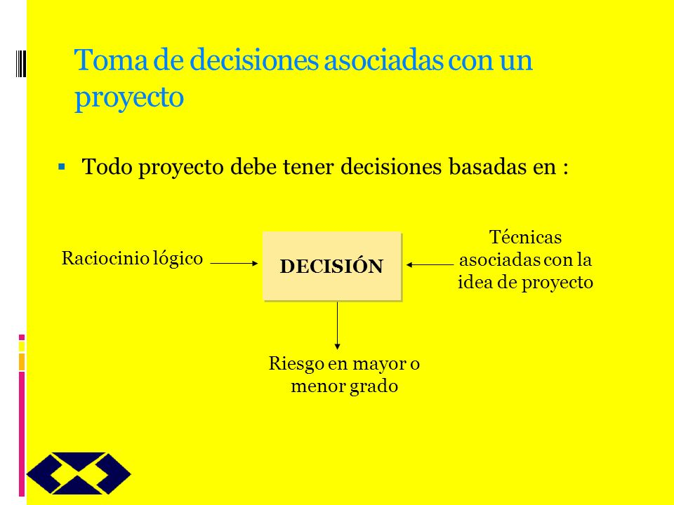 Toma de decisiones asociadas con un proyecto