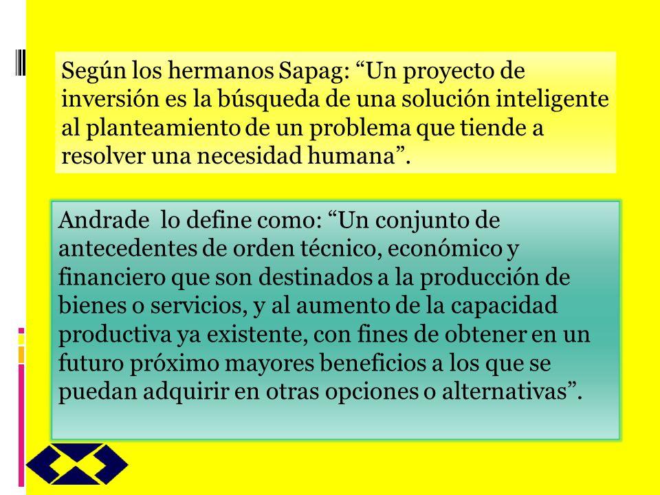 Según los hermanos Sapag: Un proyecto de inversión es la búsqueda de una solución inteligente al planteamiento de un problema que tiende a resolver una necesidad humana .