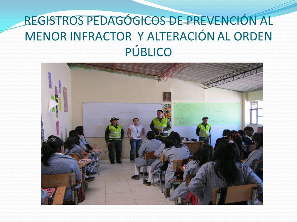 REGISTROS PEDAGÓGICOS DE PREVENCIÓN AL MENOR INFRACTOR Y ALTERACIÓN AL ORDEN PÚBLICO