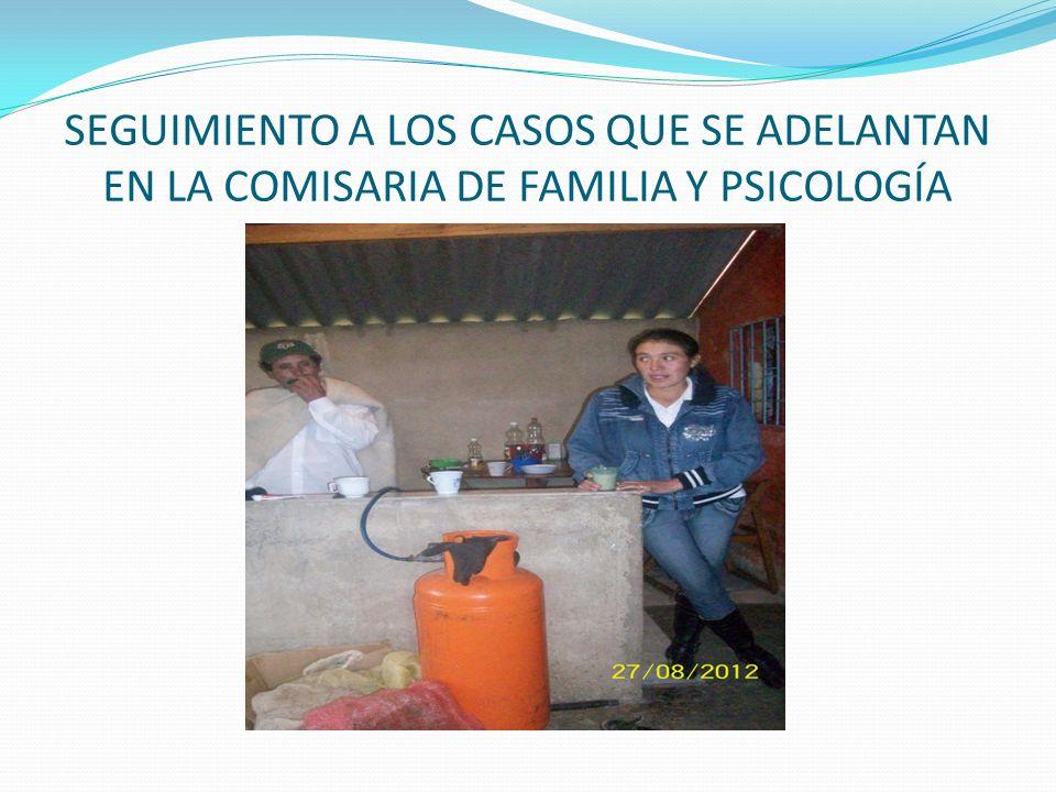 SEGUIMIENTO A LOS CASOS QUE SE ADELANTAN EN LA COMISARIA DE FAMILIA Y PSICOLOGÍA