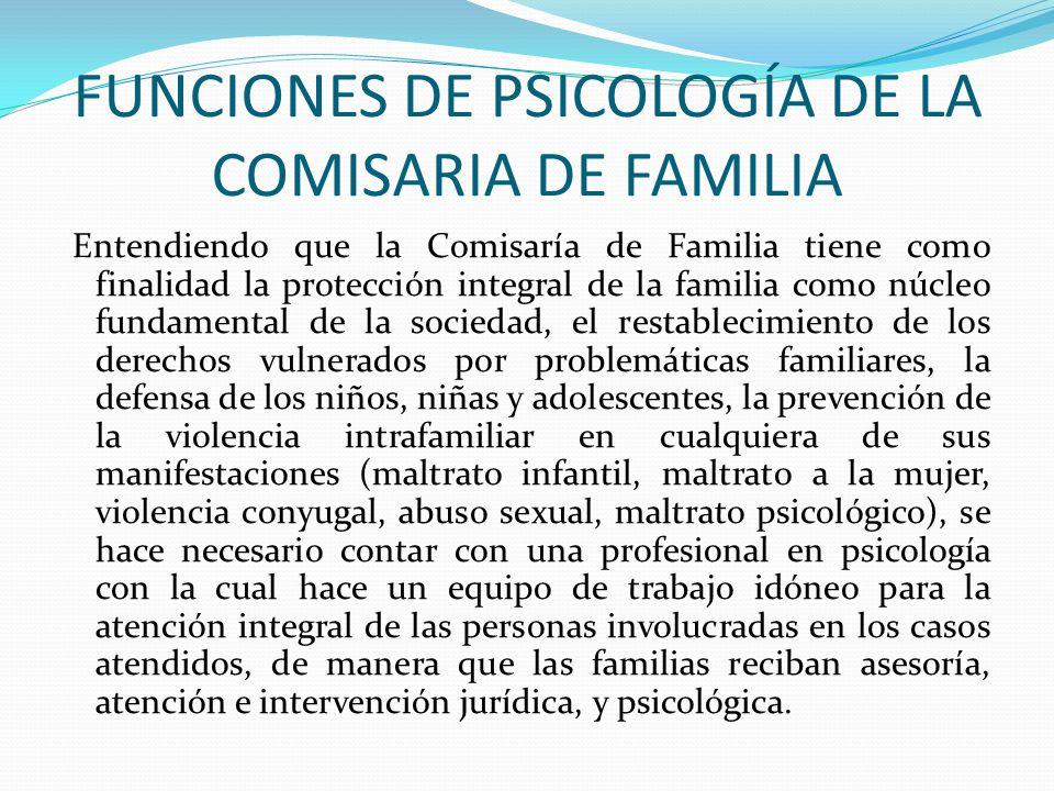 FUNCIONES DE PSICOLOGÍA DE LA COMISARIA DE FAMILIA