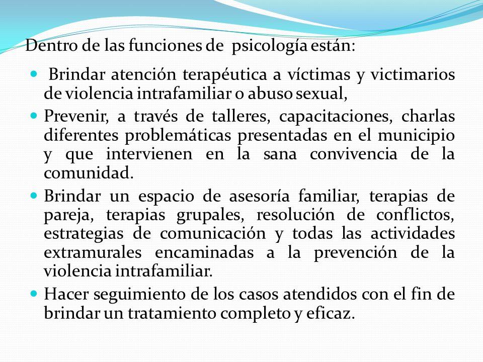 Dentro de las funciones de psicología están: