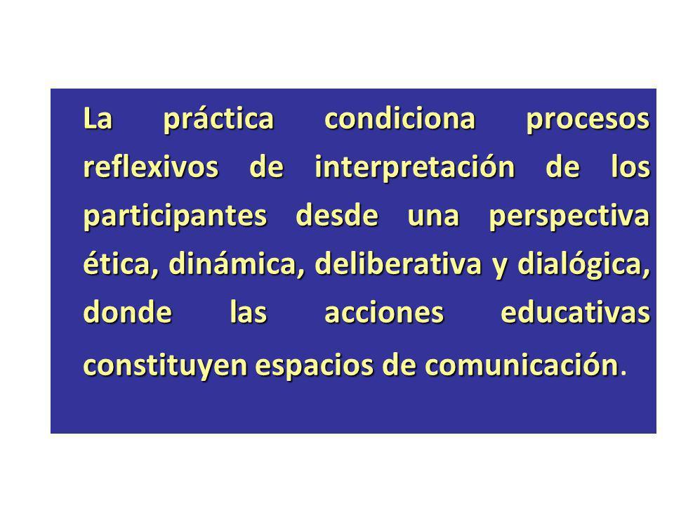 La práctica condiciona procesos reflexivos de interpretación de los participantes desde una perspectiva ética, dinámica, deliberativa y dialógica, donde las acciones educativas constituyen espacios de comunicación.