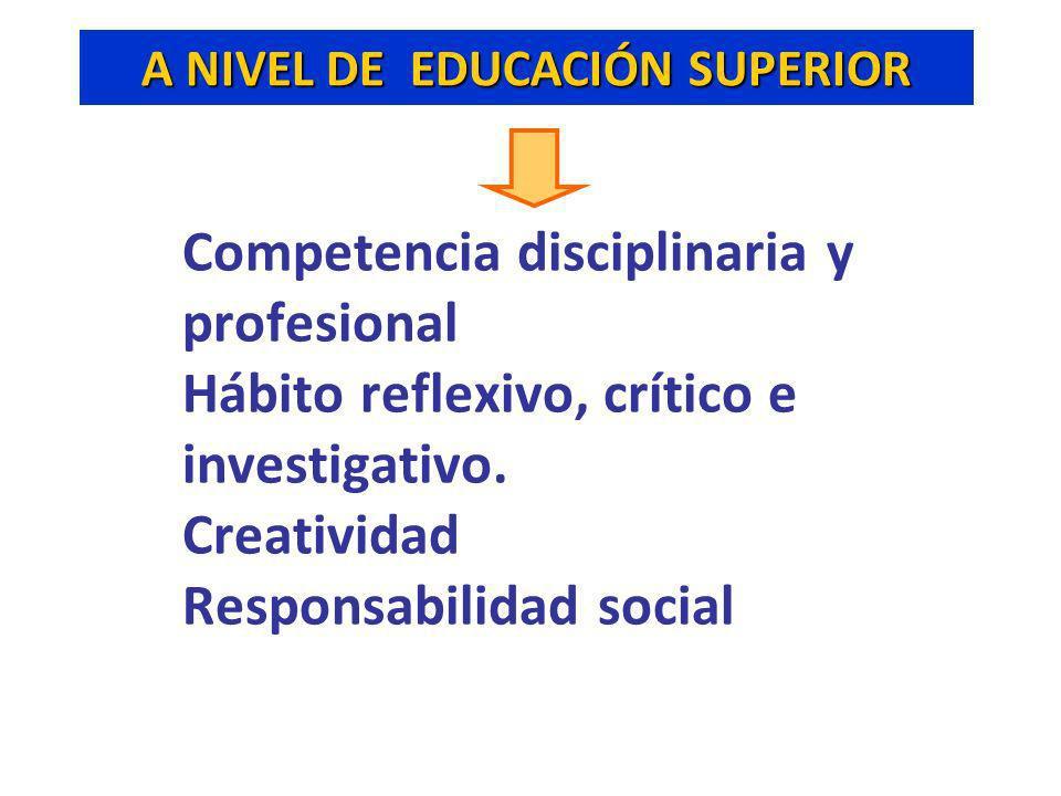 A NIVEL DE EDUCACIÓN SUPERIOR