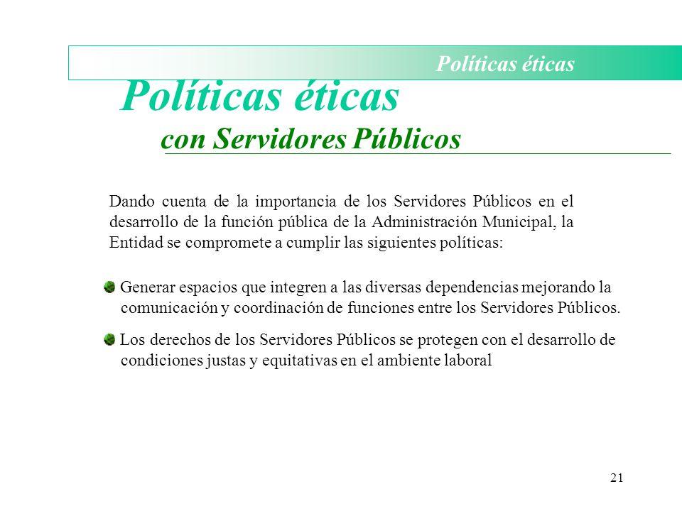 Políticas éticas con Servidores Públicos Políticas éticas