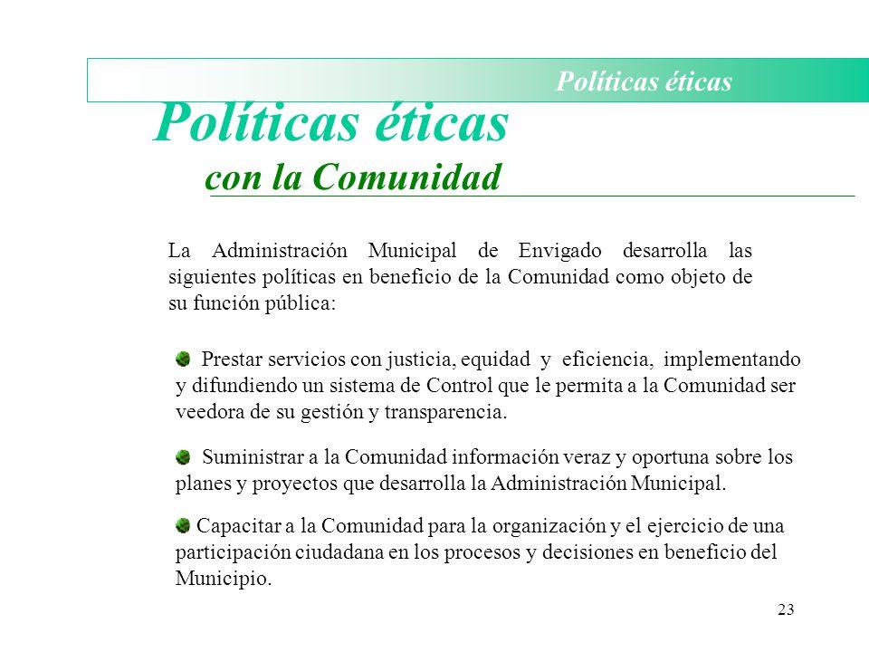 Políticas éticas con la Comunidad Políticas éticas
