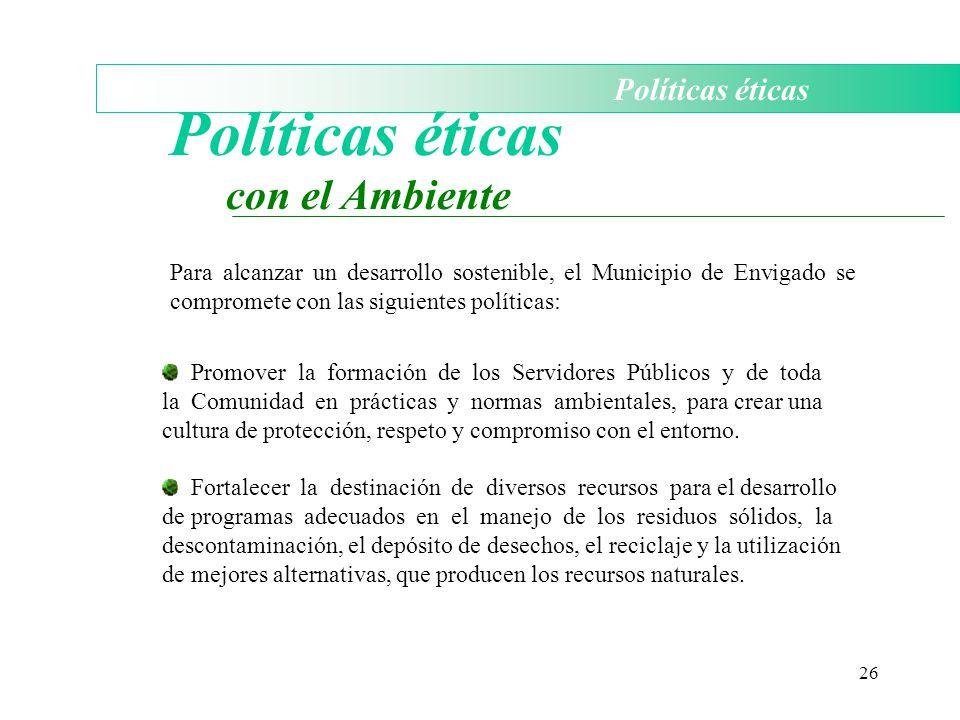 Políticas éticas con el Ambiente Políticas éticas