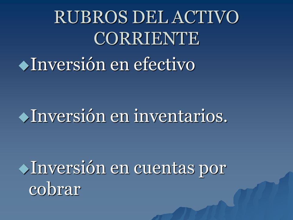 RUBROS DEL ACTIVO CORRIENTE