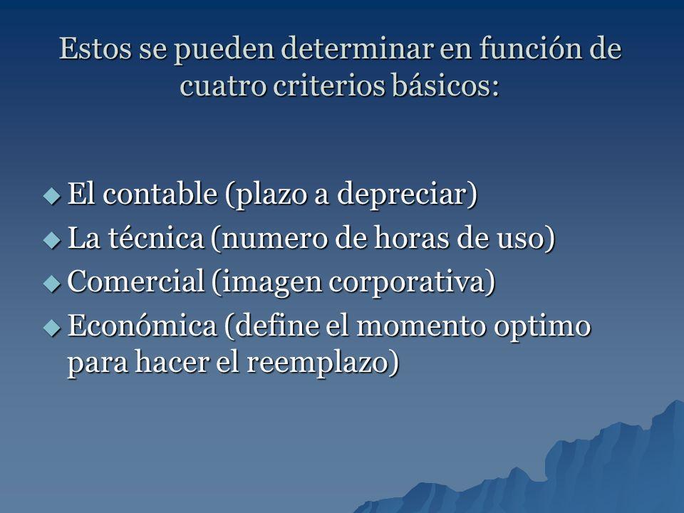 Estos se pueden determinar en función de cuatro criterios básicos: