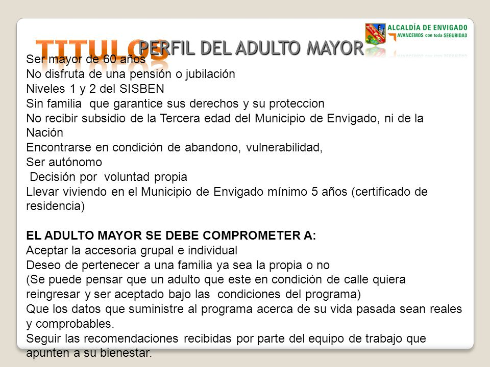 PERFIL DEL ADULTO MAYOR