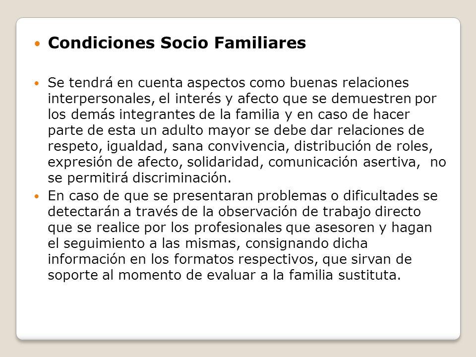 Condiciones Socio Familiares
