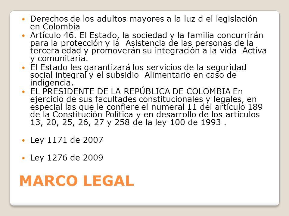 Derechos de los adultos mayores a la luz d el legislación en Colombia