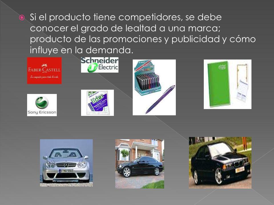 Si el producto tiene competidores, se debe conocer el grado de lealtad a una marca; producto de las promociones y publicidad y cómo influye en la demanda.