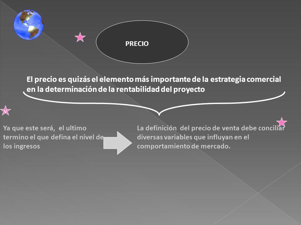 PRECIO El precio es quizás el elemento más importante de la estrategia comercial en la determinación de la rentabilidad del proyecto.