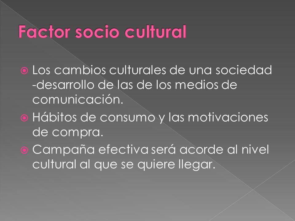 Factor socio cultural Los cambios culturales de una sociedad -desarrollo de las de los medios de comunicación.