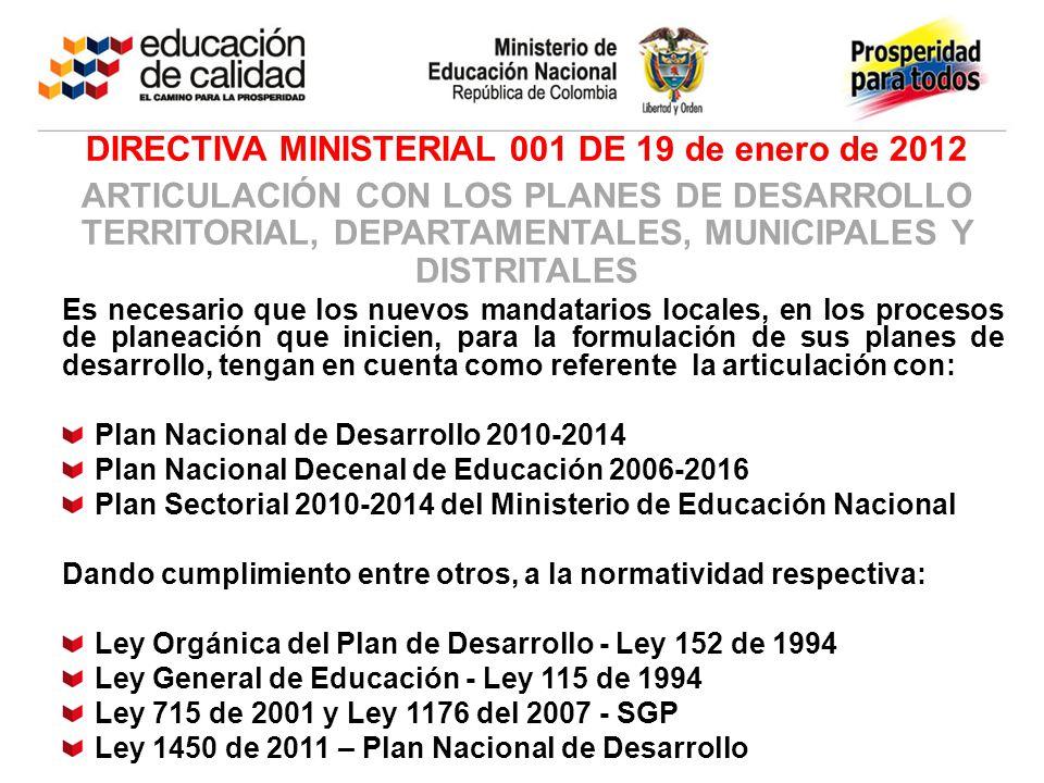 DIRECTIVA MINISTERIAL 001 DE 19 de enero de 2012