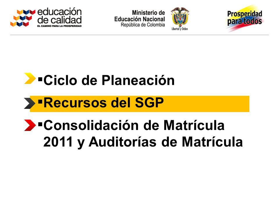 Consolidación de Matrícula 2011 y Auditorías de Matrícula