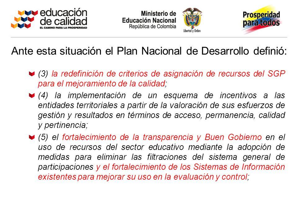 Ante esta situación el Plan Nacional de Desarrollo definió: