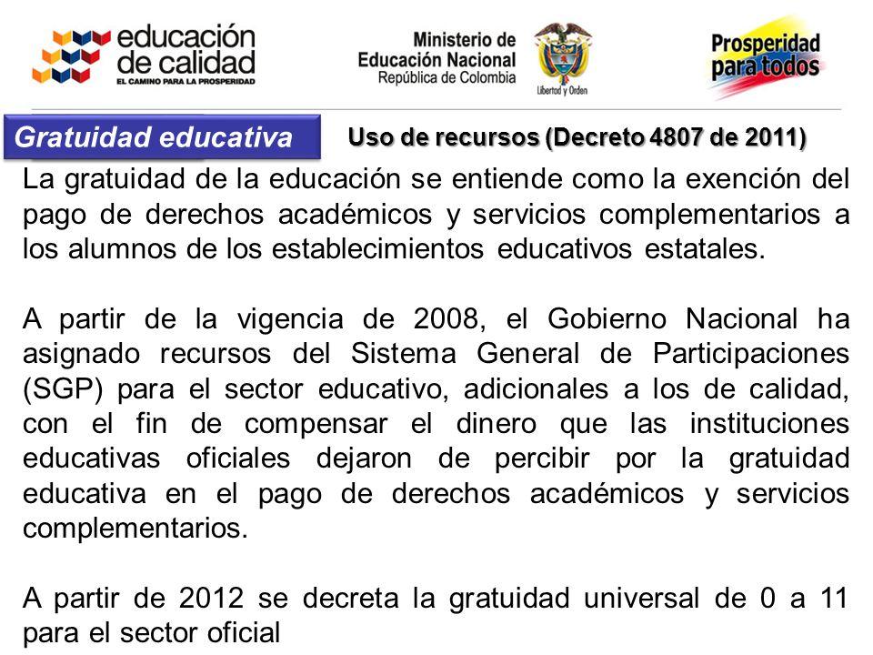 Uso de recursos (Decreto 4807 de 2011)