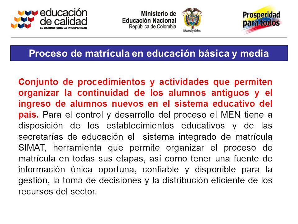 Proceso de matrícula en educación básica y media
