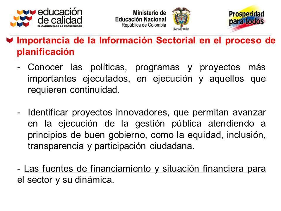 Importancia de la Información Sectorial en el proceso de planificación