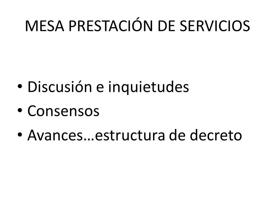 MESA PRESTACIÓN DE SERVICIOS